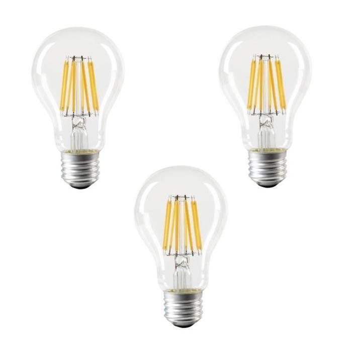 EXPERT LINE Lot de 3 ampoules LED E27 SMD a filament 8 W équivalent a 64 W blanc chaud