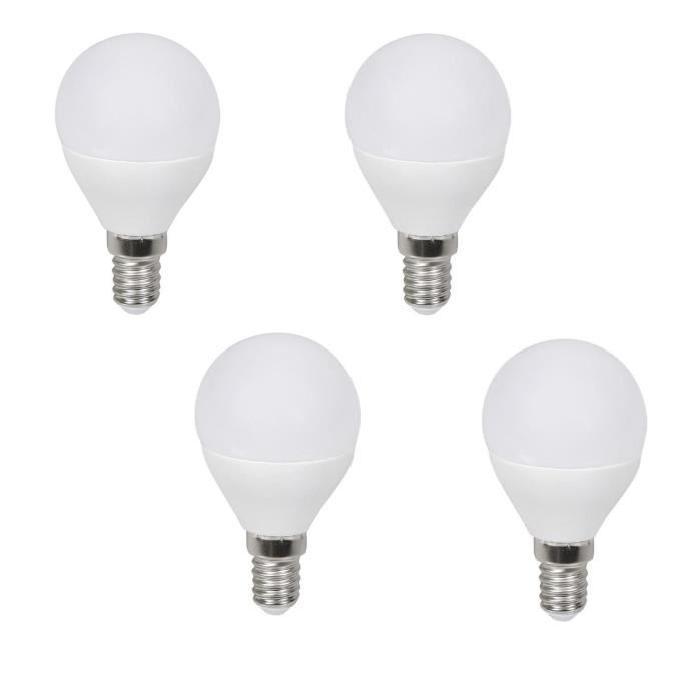EXPERT LINE Lot de 4 ampoules LED E14 G45 3 W équivalent a 60 W blanc chaud