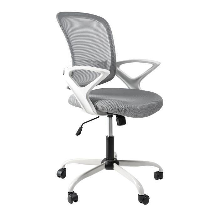 OXY Fauteuil de bureau - Tissu gris clair et blanc - Contemporain - L 65 x P 70 cm