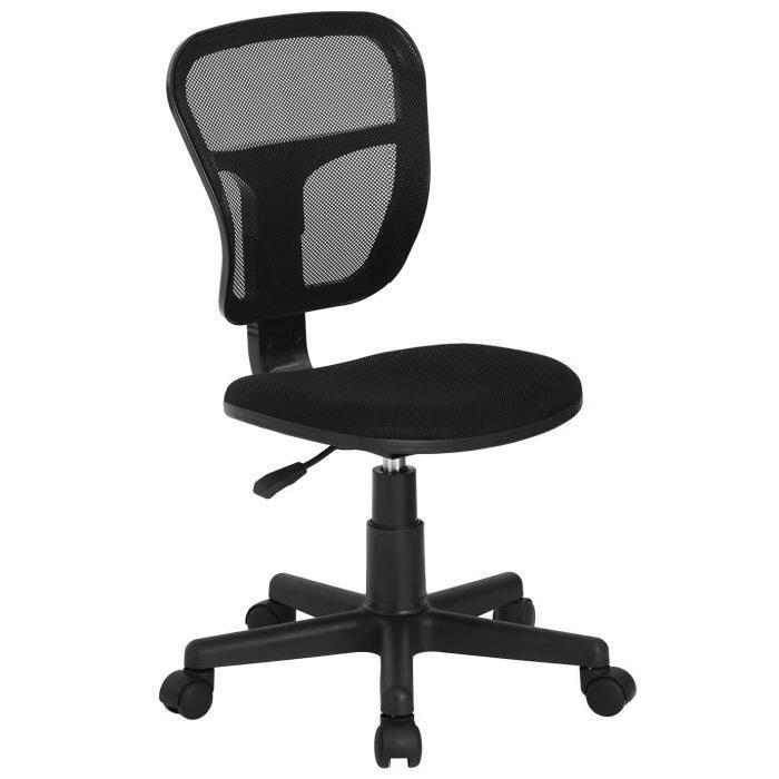 FLYINGO Chaise de bureau - Tissu maille noir - Style classique - L 47 x P 40 cm