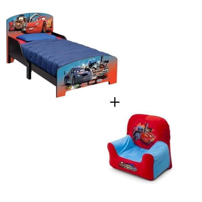 DELTA CHILDREN - Lit bois + Fauteuil gonflable CARS