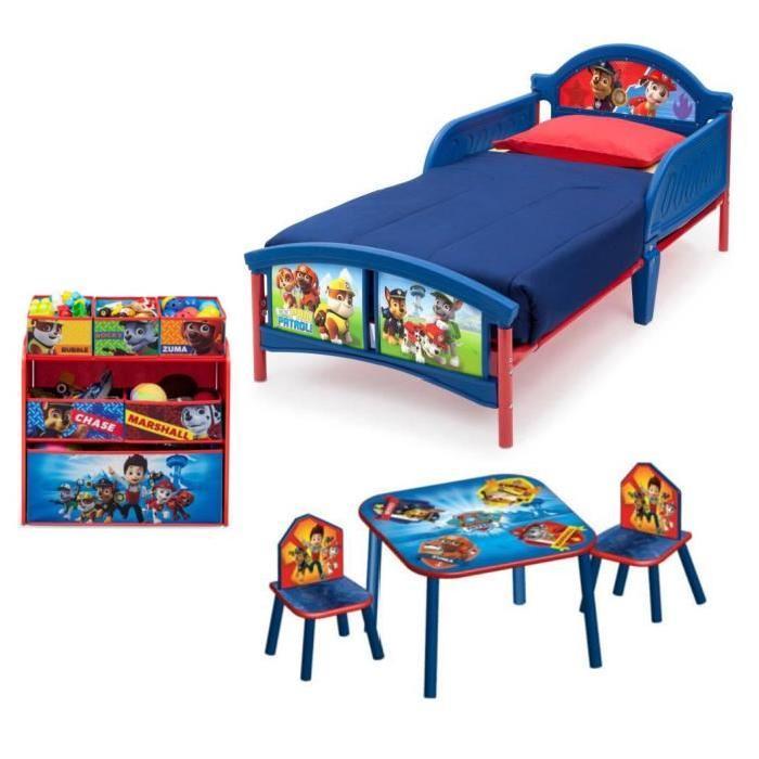 PAT PATROUILLE Pack Chambre enfant Complete avec Lit, Meuble de Rangement, Table et 2 Chaises