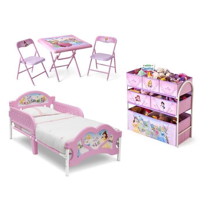 DISNEY PRINCESSES - Chambre Enfant Complete Tout-En-Un - Rose et Multicolore