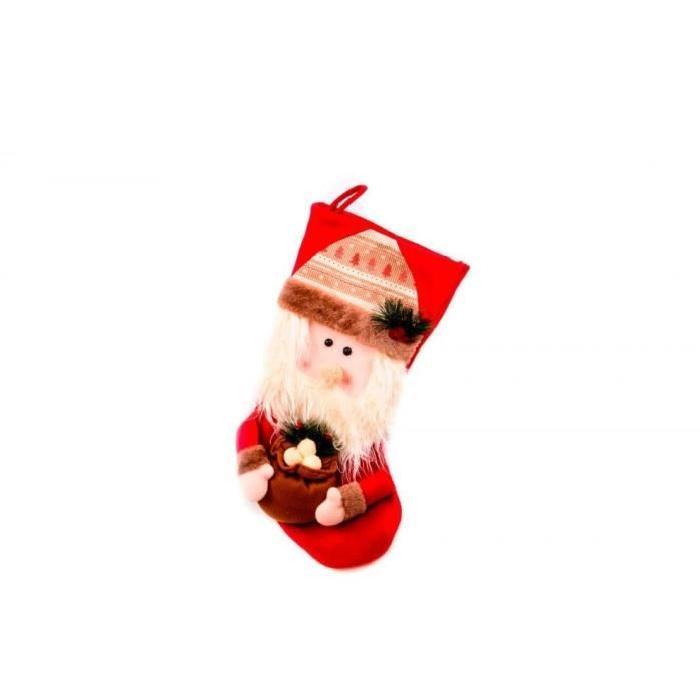 Chaussette de Noël a suspendre Rouge en tissu 50 cm