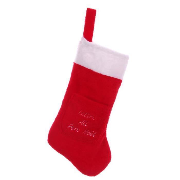 Chaussette de Noël a suspendre avec lettre brodée Rouge et blanc