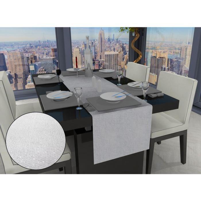 SUCRE D'OCRE Chemin de table BELLA - 40x140cm - Polyester Blanc