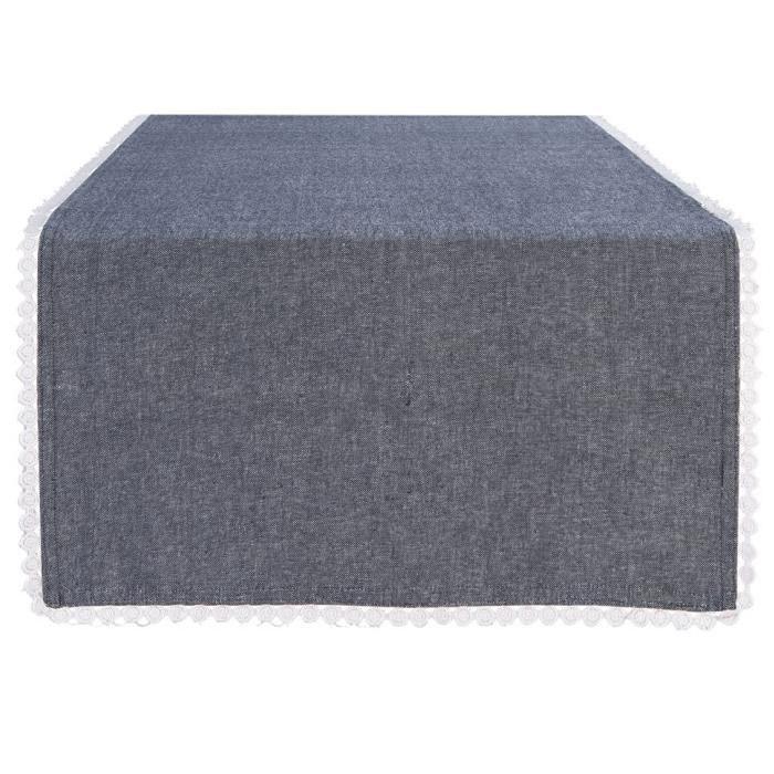DEKOANDCO Chemin de table 45x150 cm CHINNY BLUE STONE