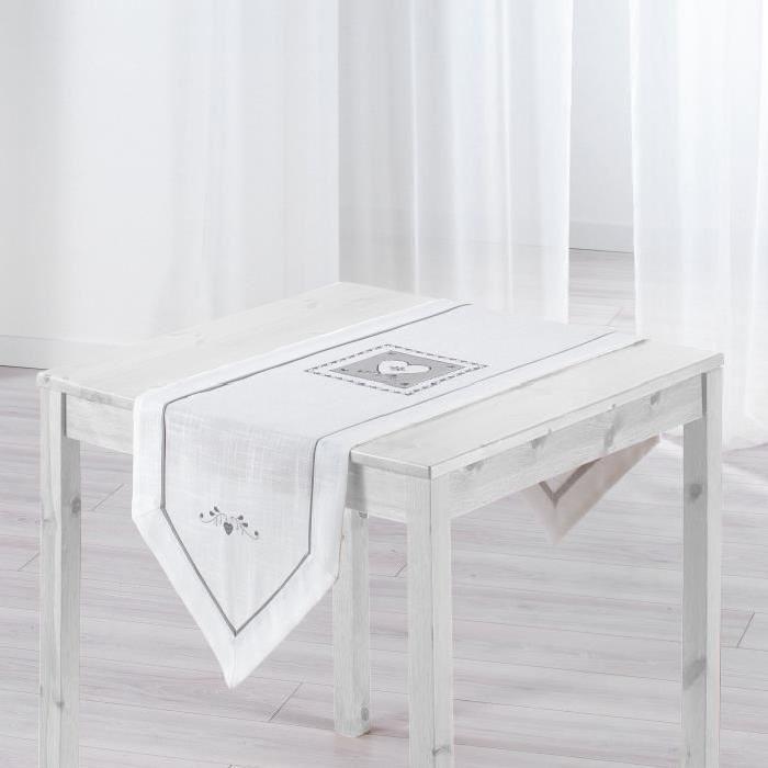 Chemin de table brodé Amandine 40x150 cm blanc