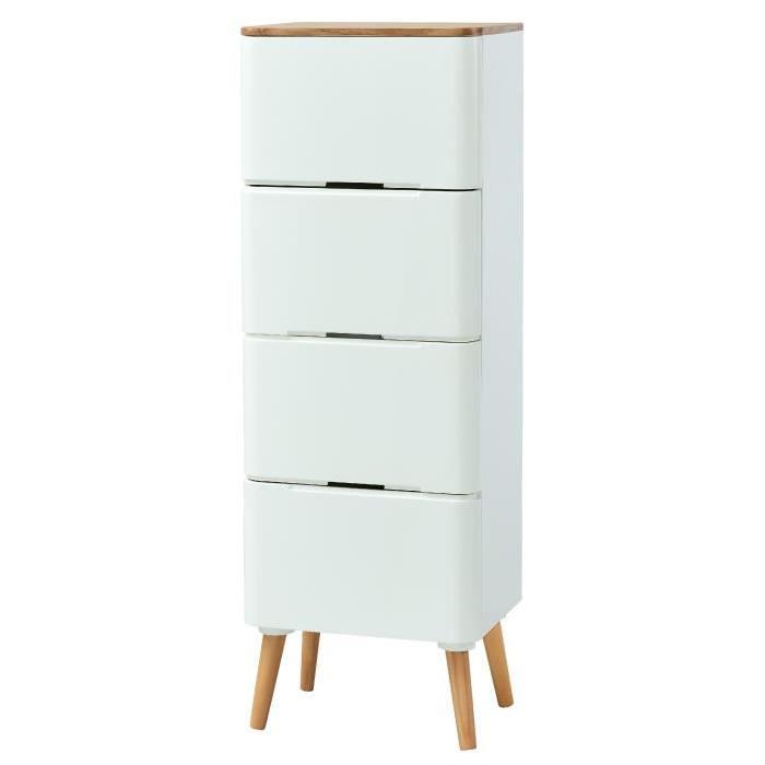 LYA Chiffonnier scandinave laqué blanc mat plateau placage bois frene + pieds en pin massif - L 40 cm