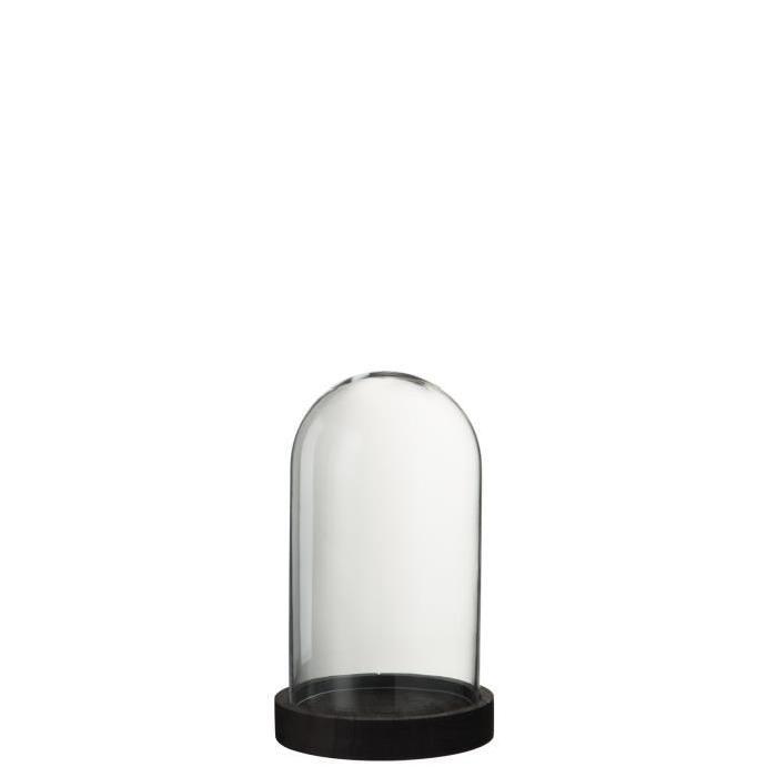 Cloche ronde Bois et Verre 16x16x27 cm Transparent et Noir