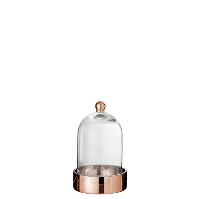 Cloche verre déco 13x13x20 cm Cuivre et Transparent