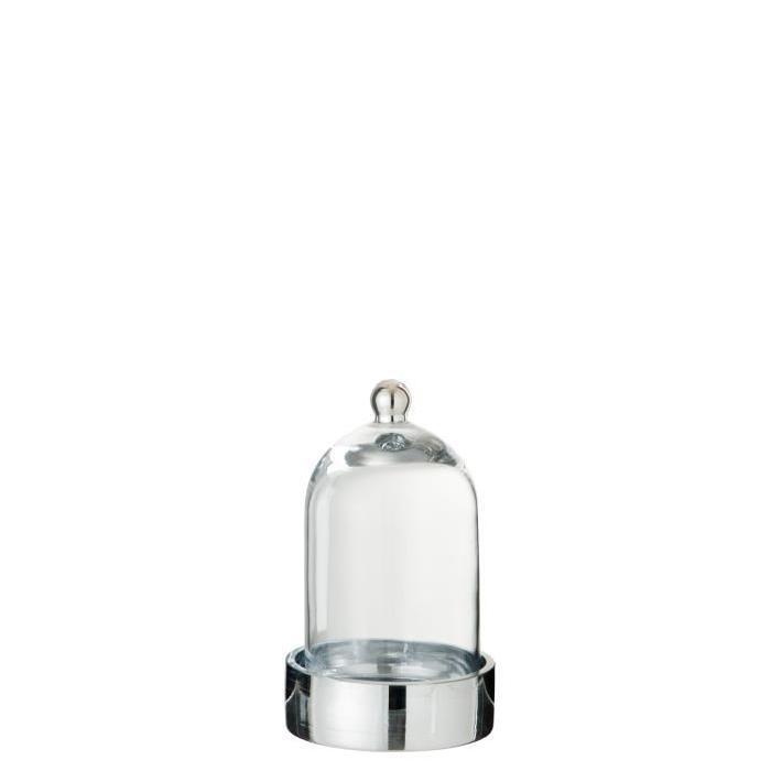 Cloche verre déco 13x13x20 cm Argent et Transparent