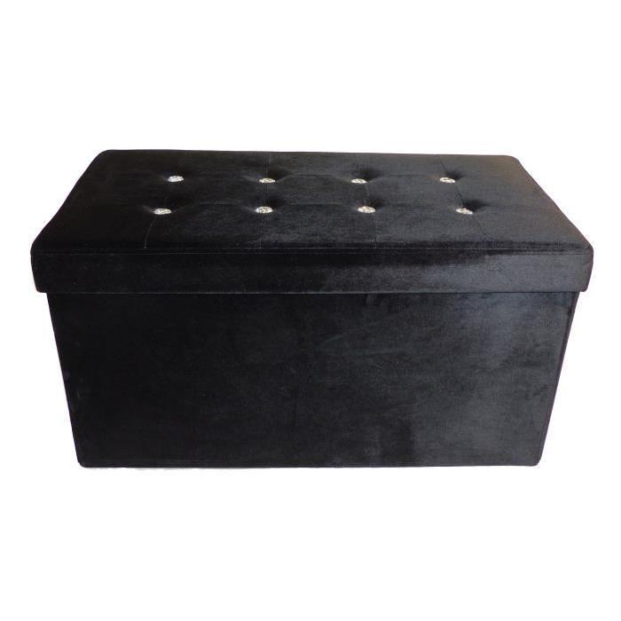 Banc coffre coffre de rangement Diamant 76x38x38 cm noir