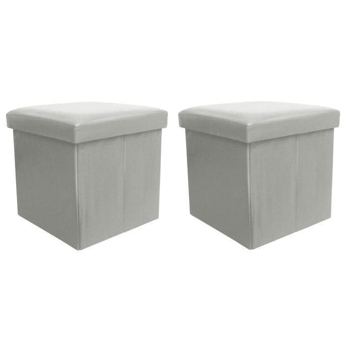 BUGGY Lot de 2 poufs coffres de rangement pliable 38x37x38 cm gris