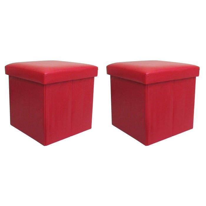 BUGGY Lot de 2 poufs coffres de rangement pliables 38x37x38 cm rouge
