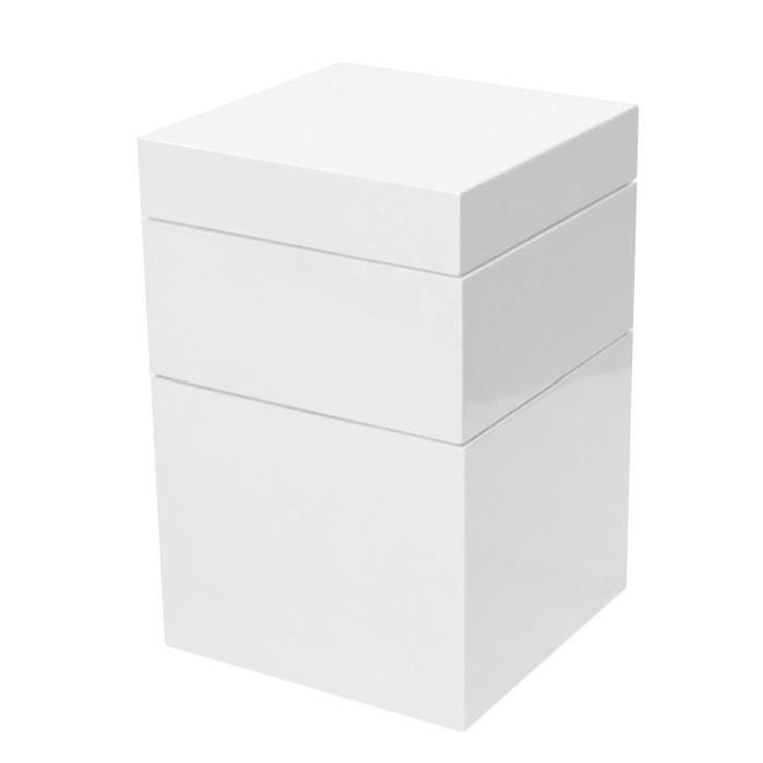 BLOC Petit meuble de rangement contemporain blanc brillant - L 36 cm