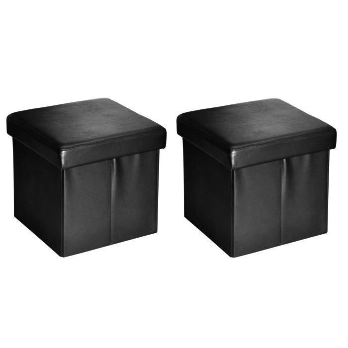 BUGGY Lot de 2 poufs coffres de rangement 38x37x38 cm noir