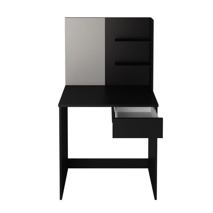 CLARA Coiffeuse style contemporain - Noir mat - L 75 cm