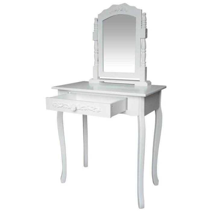 LAURA Coiffeuse, 1 tiroir 1 miroir coloris blanc