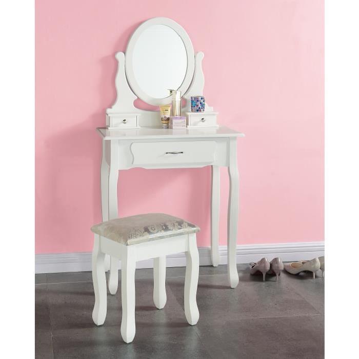 EMMA Coiffeuse + tabouret romantique pieds en bois massif laqué blanc brillant - L 710 cm
