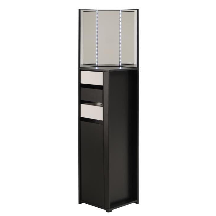 LOVELY Coiffeuse avec LED style contemporain décor noir et blanc mat - L 37 cm