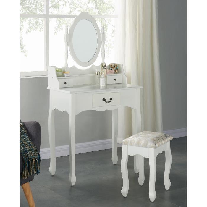 LOUISE Coiffeuse + tabouret + miroir pieds en bois massif romantique blanc - L 75 cm