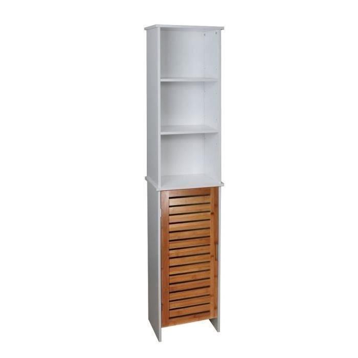 LINDA Colonne de salle de bain L 34 cm - Blanc et décor bois