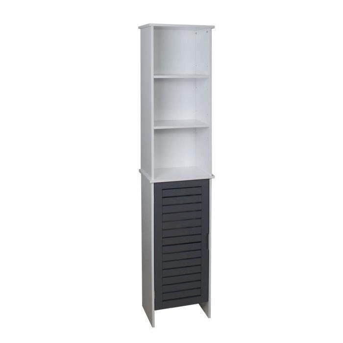 LINDA Colonne de salle de bain L 34 cm - Blanc et gris