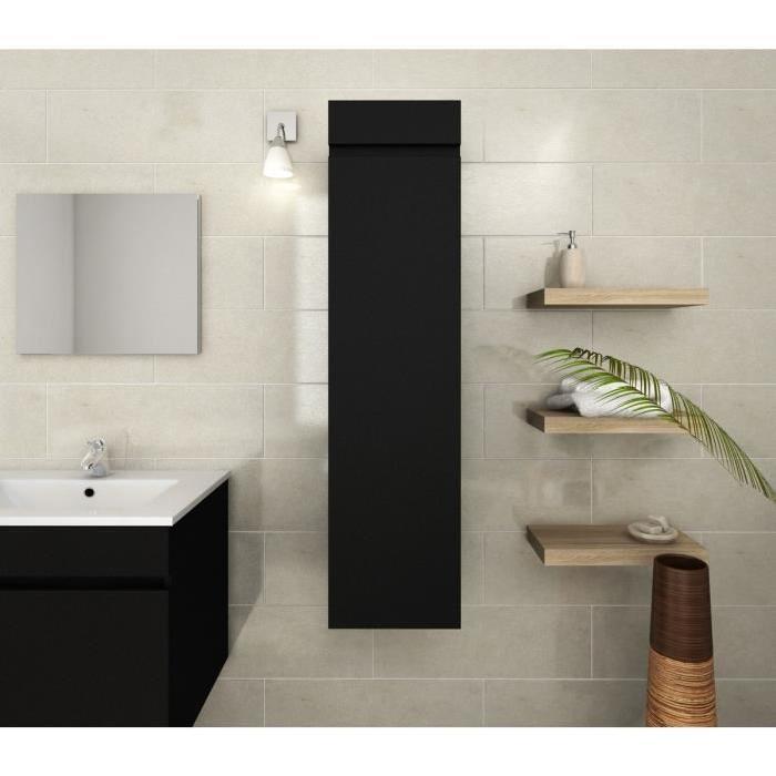 LUNA Colonne de salle de bain L 30 cm - Noir mat