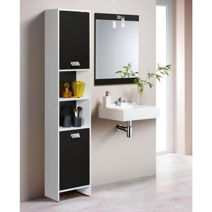 TOP Colonne de salle de bain L 39 cm - Blanc et noir