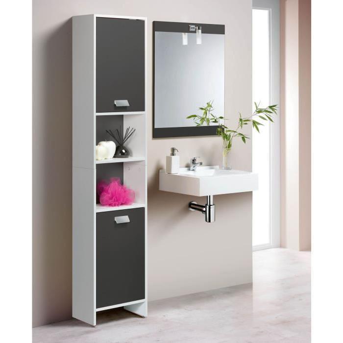 TOP Colonne de salle de bain L 39 cm - Blanc et gris