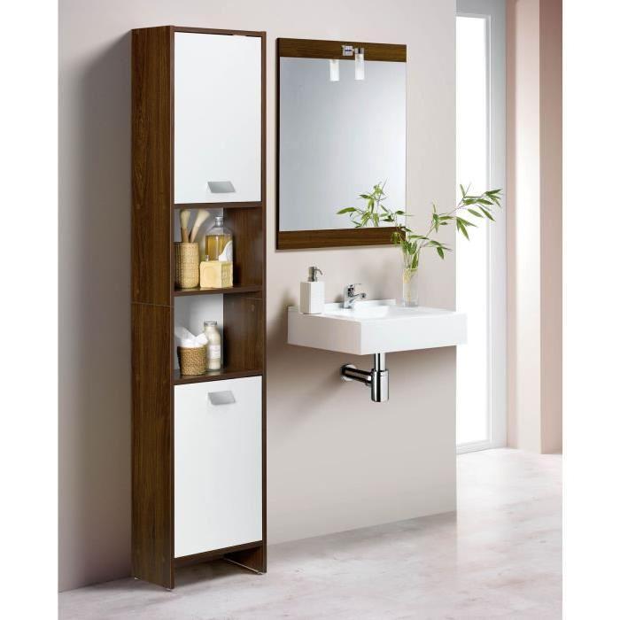TOP Colonne de salle de bain L 39 cm - Marron Décor wengé et blanc