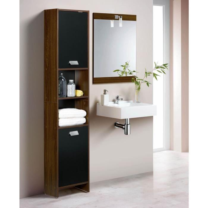 TOP Colonne de salle de bain L 39 cm - Décor wengé et noir