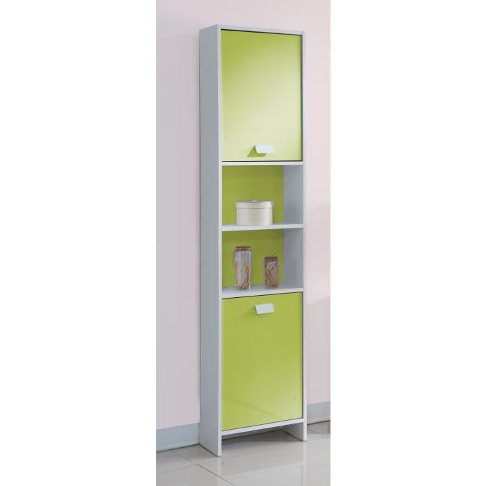TOP Colonne de salle de bain L 40 cm - Blanc et vert