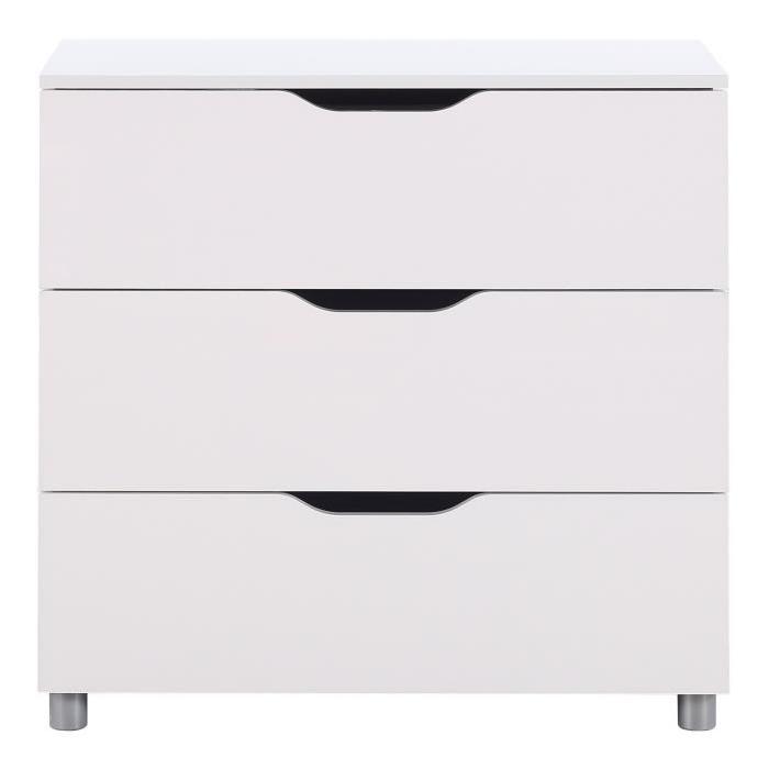 STELL Commode de chambre style contemporain laquée blanc brillant - L 81 cm