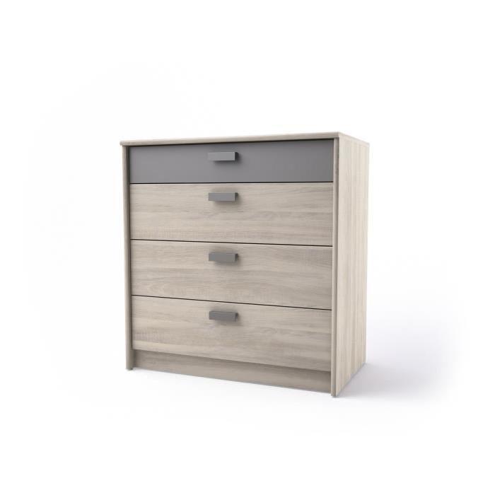 GREG Commode de chambre style contemporain mélaminée décor chene maritime et gris mat - L 75 cm