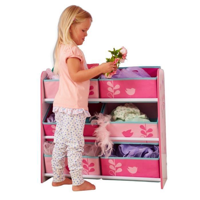 WORLDS APPART Meuble de Rangement Enfant - 6 bacs HelloHome Fleurs et Oiseaux - Rose