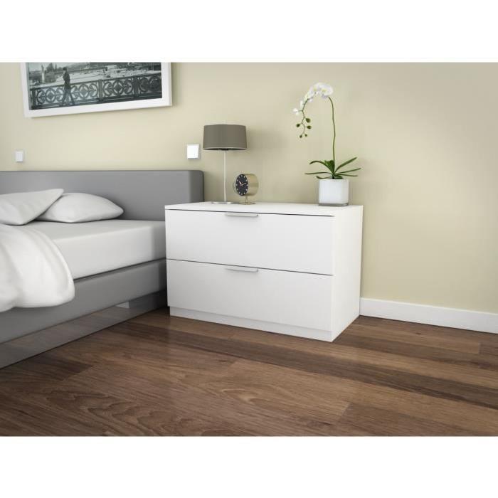 BILLUND Commode 2 tiroirs 80cm blanc