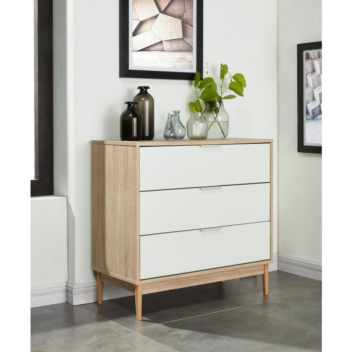 CHARLOTTE Commode chambre adulte style contemporain pieds en bois massif - Blanc et décor chene - L 80 cm