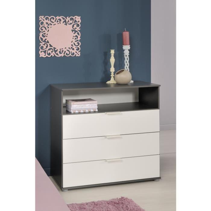 STANLEY Commode chambre enfant style contemporain décor blanc et gris ombre - L 80 cm