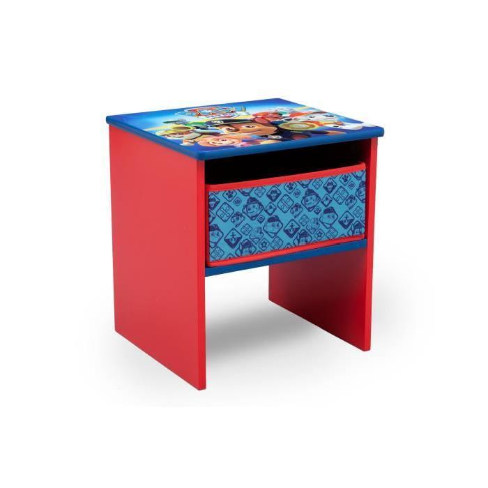 PAT PATROUILLE - Table de Chevet Enfant en Bois avec tiroirs - Rouge et Multicolore