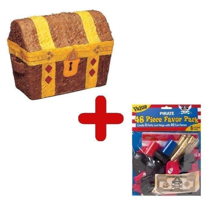 RIETHMULLER Pack Pinata Coffre de Pirate + Sachet de 48 Garnitures