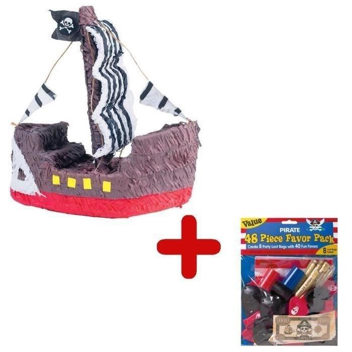 RIETHMULLER Pack Pinata Bateau Pirate + Sachet de 48 Garnitures