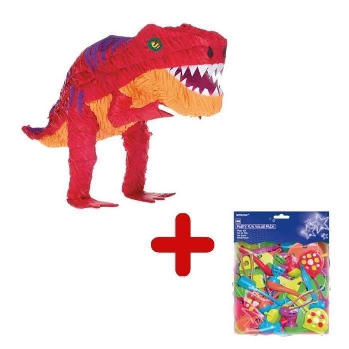 RIETHMULLER Pack Pinata Dinosaure T-Rex + Sachet de 48 Garnitures