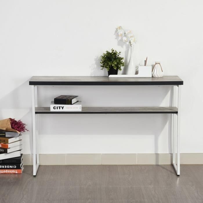 ROSEMARY Console style industriel en métal blanc + plateau mélaminé décor béton - L 120 cm