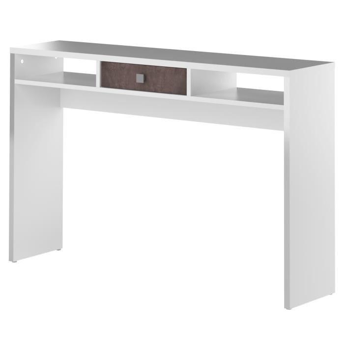 LINE Console style contemporain mélaminée blanc et effet béton - L 120 cm