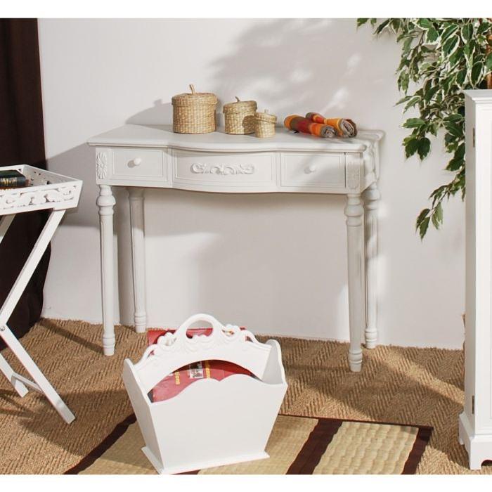 Console blanche romantique avec tiroirs 98cm LISE