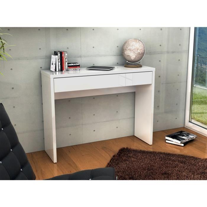 ARENA Console meuble style contemporain blanc brillant - L 109 cm