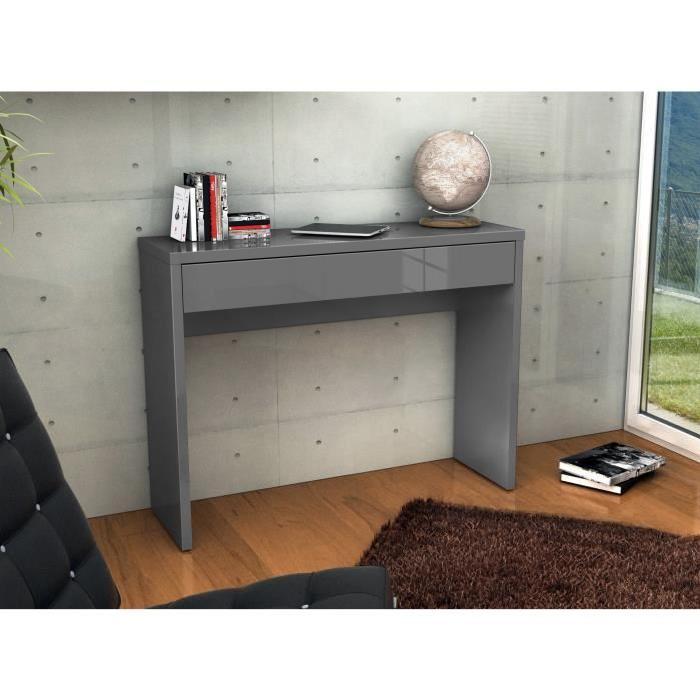 ARENA Console meuble style contemporain gris brillant - L 109 cm