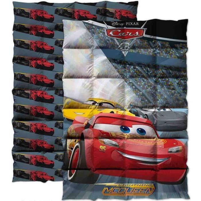CARS Couette imprimée 140x200 cm gris, rouge et jaune